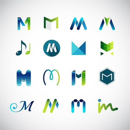 aqua icon: Abstract icons based on the letter M  Illustration