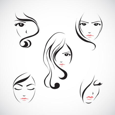 Conjunto de la ilustración de la cara de la mujer hermosa con el pelo largo Foto de archivo - 30021850