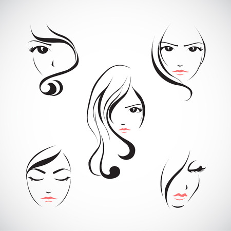 Vector illustration set of beautiful womans face with  long hair