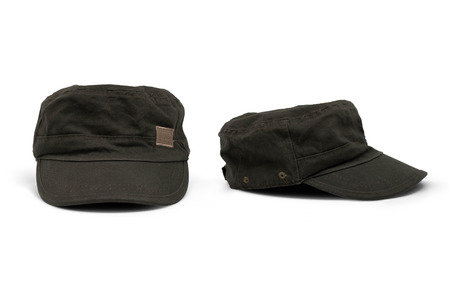 Front View and Side View of Olive Green Cap Isolated on White Background with clipping path