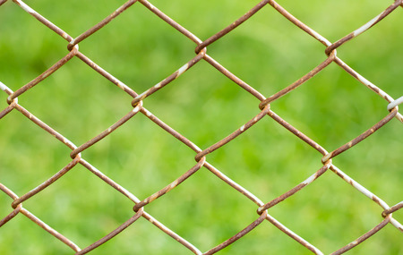 Rusty Fence Wire on green background photo