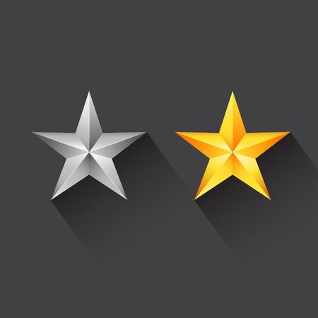 Icono de la estrella con la estrella de plata y estrella de oro Foto de archivo - 31128514