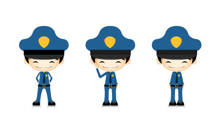 safe guard: Set of policeman in different poses on white background illustration Illustration