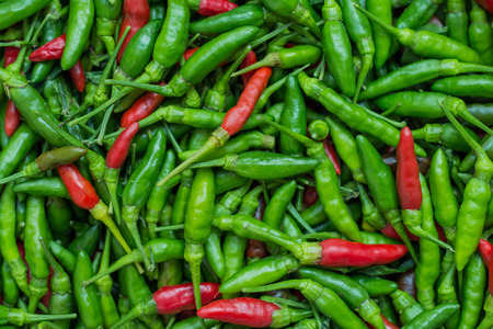 Tropical chilli peppers background photo