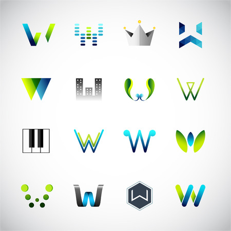 Abstract icons design based on the letter W