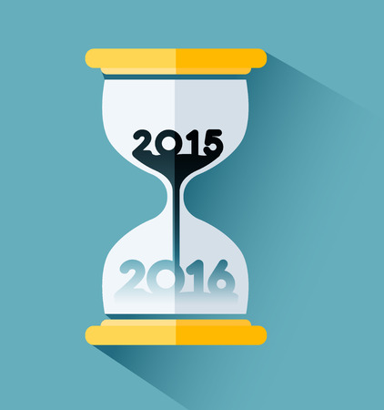 time passing: Happy New year 2016, Number inside the hourglass. Time passing concept