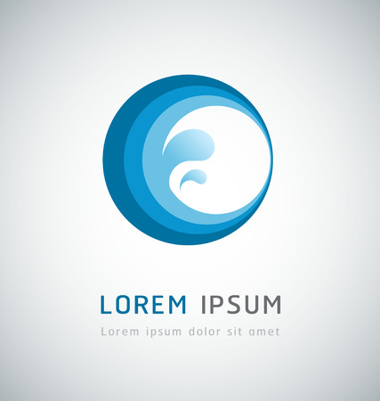 Onda de agua diseño abstracto icono Vectores