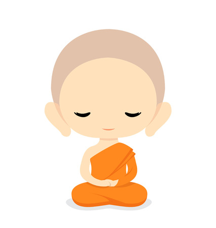 novice: Buddhist Monk Character DesignVector Illustration