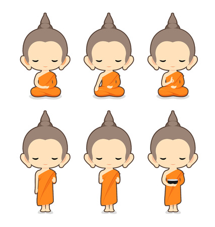 Buddhist Monk Character DesignVector Illustration
