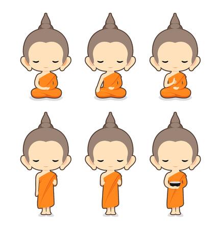 moine: Moine bouddhiste DesignVector du personnage Illustration Illustration
