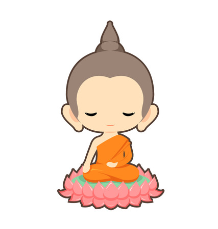 Buddha sitting on lotus flower character designVector illustration Çizim