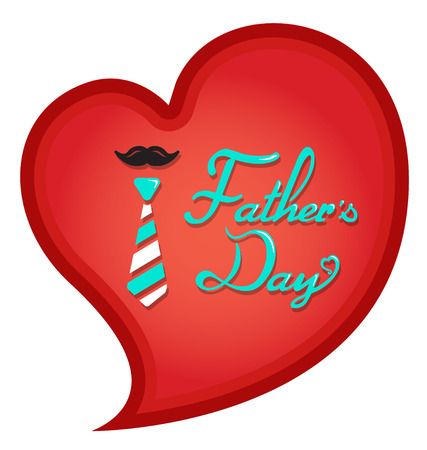 Happy Fathers Day typography in heart shape Illustration