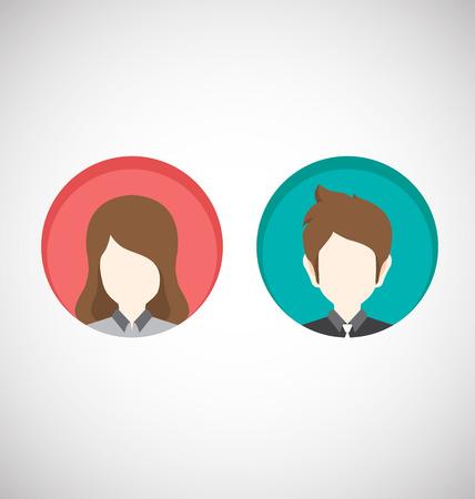 男性と女性のアイコン。ベクトル イラスト-フラット スタイル  イラスト・ベクター素材