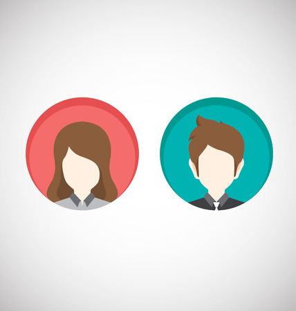 Male and Female icons.Vector Illustration-Flat style 免版税图像 - 47256542