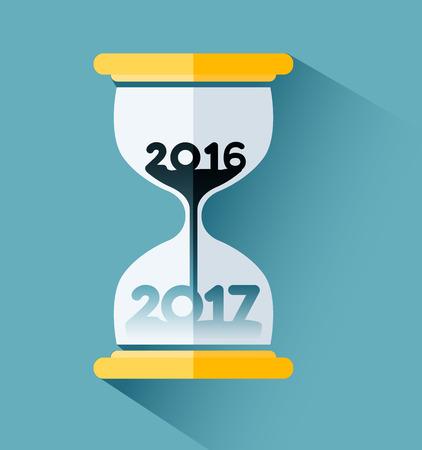 Gelukkig Nieuwjaar 2017, aantal binnen de zandloper. Tijd passeren concept