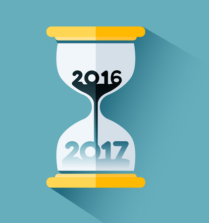 Happy New year 2017, Number inside the hourglass. Time passing concept Ilustração