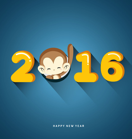 Happy New Year 2016 Year of Monkey-Vector Illustration Illustration