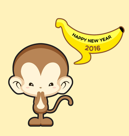 Happy New Year greeting card with cute monkey saying Happy New Year 2016-Vector Illustration