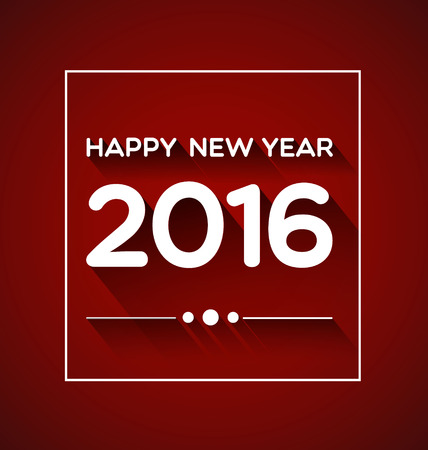 hi end: Happy New Year 2016 on Red Background