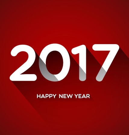 hi end: Happy New Year 2017 on Red Background