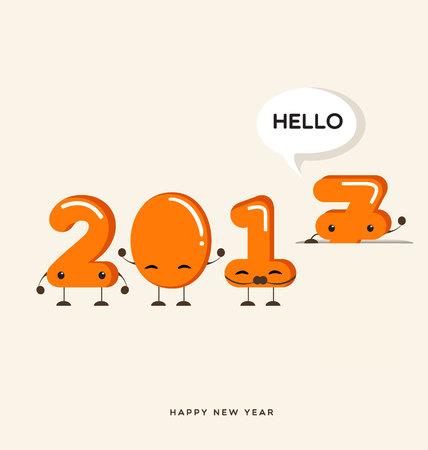 hi end: Happy New Year 2017 greeting card,Funny cartoon number Illustration Illustration