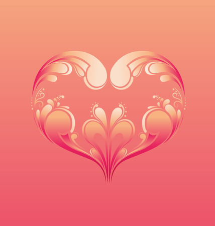 Happy Valentines Day Greeting Card with ornamental heart-shapes illustration Illustration