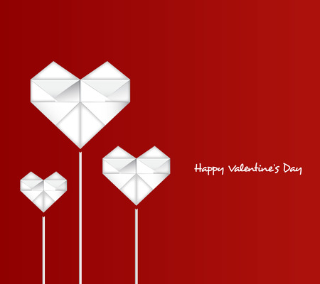 paper heart: Happy Valentines Day with paper heart Illustration