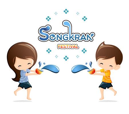 hot boy: Boy Girl enjoy splashing water in Songkran festival ,Thailand.