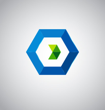 Hexagon with blue and green triangles icon design based on letter O