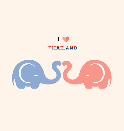 I love Thailand with cute elephants-Illustration Illustration