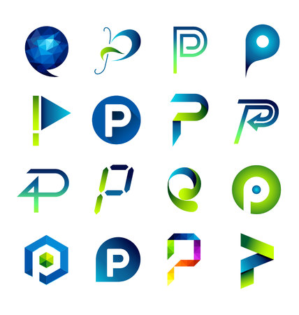 Abstract icons based on the letter P Illustration