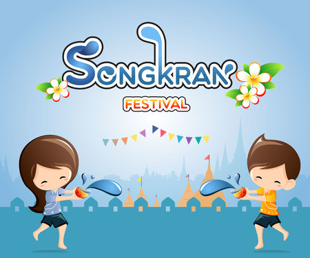 Songkran Festival in Thailand-Illustration