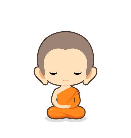 introspection: Buddhist Monk Character Design Illustration