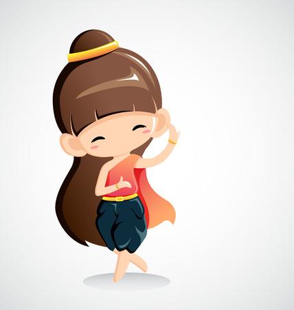 Cute girl en costume national -Thai dance.Vector Illustration