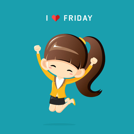 I Love Friday concept with happy businesswoman jumping in the air cheerfully Illustration