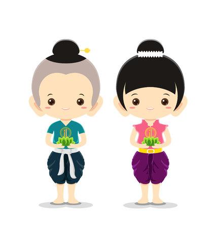 loy krathong: Boy and Girl in national costume,Loy Krathong Festival concept -Vector Illustration