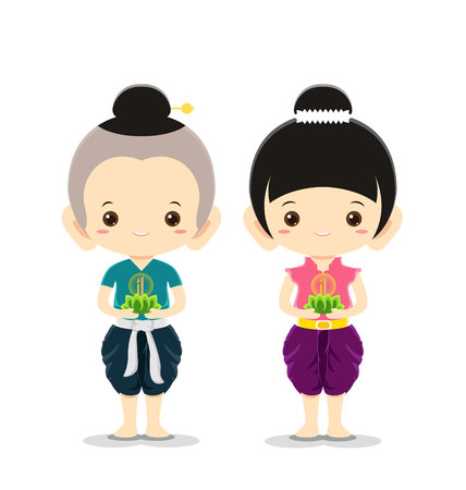 Boy and Girl in national costume,Loy Krathong Festival concept -Vector Illustration