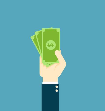 Hand holding money-Vector Illustration