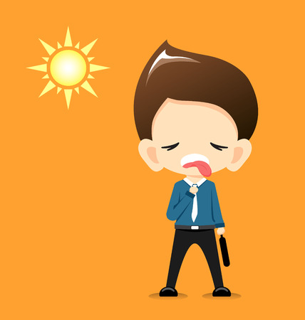 very: Businessman very hot with the sun-Vector Illustration