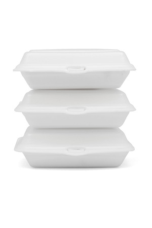 Stack of Styrofoam take away boxes isolated on white background with clipping path Stock Photo