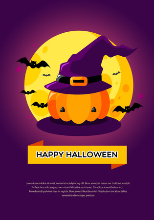 Happy Halloween background with full moon and pumpkin -Vector Illustration