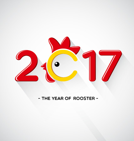 Happy New Year 2017-The year of rooster concept