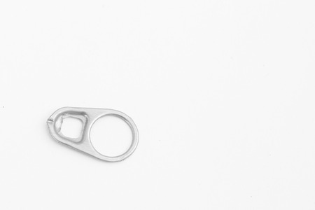 Ring-pull isolated on a white paper background with clipping path