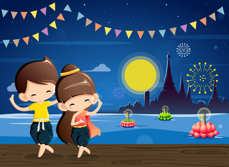 Cute boy&girl in national costume-Thai dance in Loy Krathong festival.Vector Illustration Illustration
