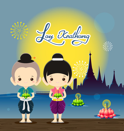 loy: Boy and girl in national costume in Loy Krathong Festival -Vector Illustration