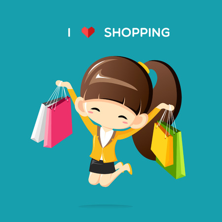 shoppping: Happy businesswoman jumping in the air with shopping bag in her hands.I love shoppping concept-Vector Illustration