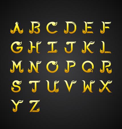 Illustrazione vettoriale alfabeto calligrafico tailandese Vettoriali
