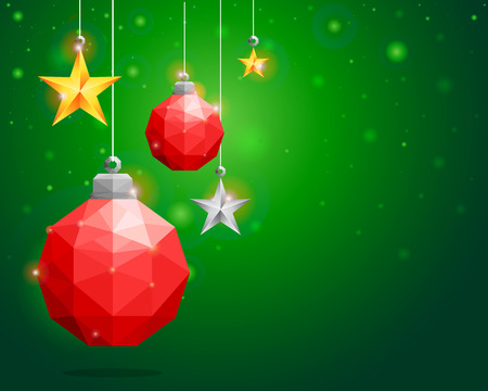 Polygonal red Christmas ball and star hanging on green background-Vector Illustration Illustration