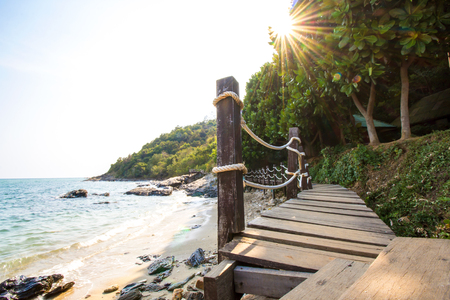 Wood bridge on the beautiful coast, Khao Leam Ya national park, Rayong, Thailand.