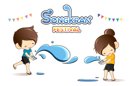 Cute boy and girl enjoy splashing water in Songkran festival, Thailand -Vector Illustration